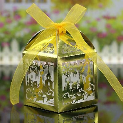 20x Christmas Scene Laser Cut Candy Gift Boxes W/Ribbon Wedding Favor Golden