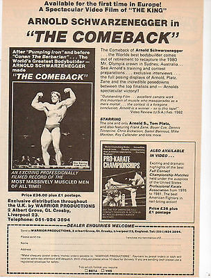 A4 Advert for the Video Release of The Comeback Arnold Schwarzenegger