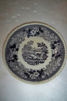 Vintage ADAMS Cattle Scenery Blue & White small plate saucer