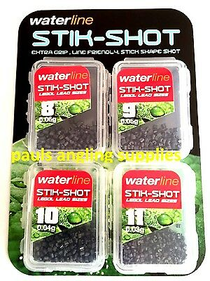Waterline 4 pack of  FISHING STIK - SHOT Styx 8,9,10,11 in Green for pole ,line