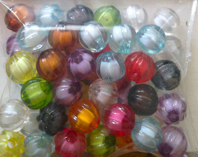 50 x Mix colour acrylic round facet beads 7mm PA0129