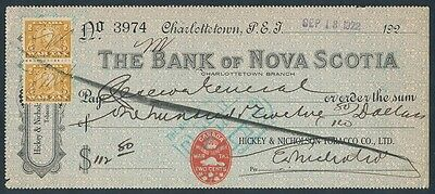 Canada - Prince Edward Is: 1922 Bank of Nova Scotia. Cheque with WAR TAX Stamps