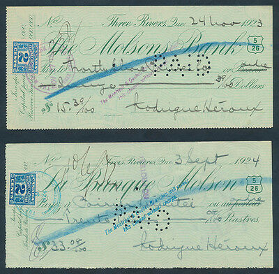 Canada - Quebec: 1923-1924 Molsons Bank. Cheques in English & French Languages