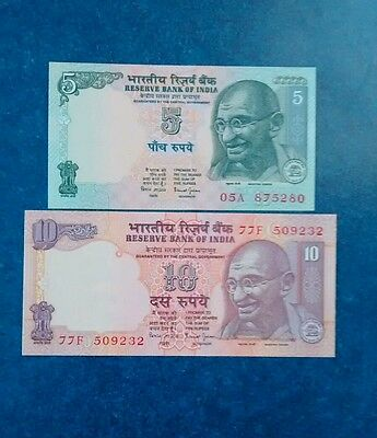 2- India 5 & 10 Rupees Banknotes, Unc.