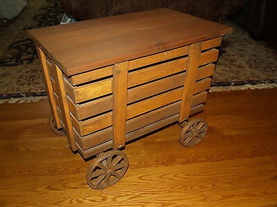 Wooden Pull Cart on Wheels