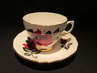 Colclough Vintage Fine Bone China Tea Cup & Saucer Deep Red Rose #7986 B46 7 & 8