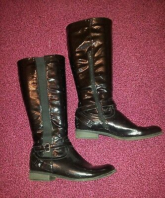 F & F black patent knee high boots, straps and buckles size uk 7