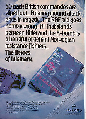 A4 Advert for the Video Release of Heroes Of Telemark Kirk Douglas
