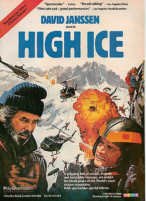 A4 Advert for the Video Release of High Ice David Janssen