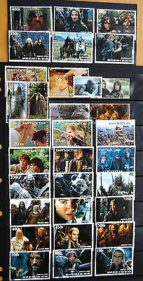 Collection Of 32 Different Lord Of The Rings Stamps Mostly Very Fine Used