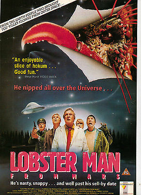 A4 Advert for the Video Release of Lobster Man From Mars Tony Curtis Pat MacNee