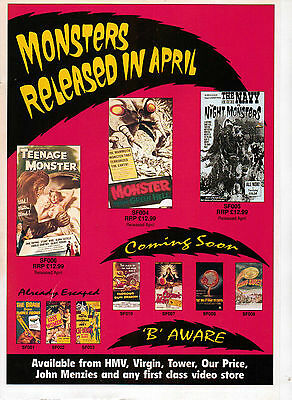A4 Advert for the Video Release of Monsters Released In April B Movies