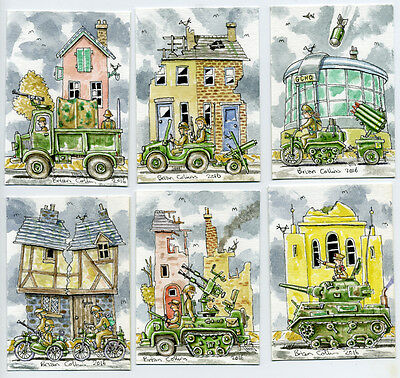 6 Crazy Street  ACEO Art Cards, Orig Pen & wc by Brian Collins,