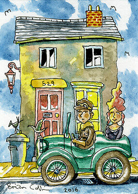 Crazy Street 529 ACEO Art Card, Orig Pen & wc by Brian Collins,