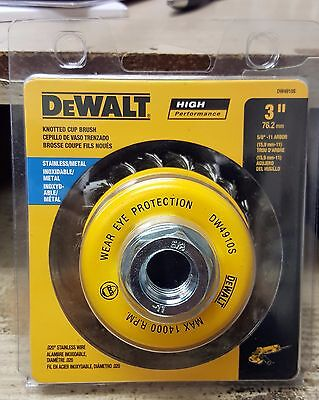 """DEWALT DW4910S 3"""" x 5/8""""-11 Stainless Steel Knotted Cup Brush"""