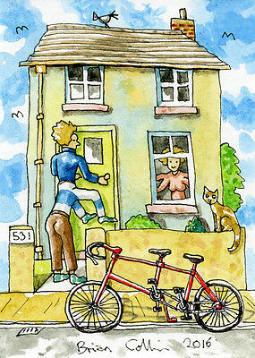 Crazy Street 531 ACEO Art Card, Orig Pen & wc by Brian Collins,