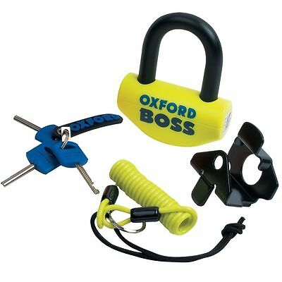 Oxford Boss Disc Lock SOLD SECURE THATCHAM ART Motorcycle Motorbike Yellow OF39