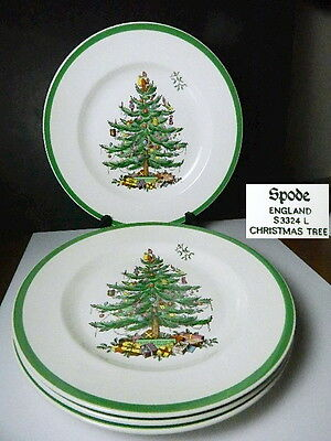 Spode CHRISTMAS TREE Dinner Plates, Set of 4, Made in ENGLAND, Never Used