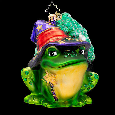 RADKO WITCH'S HELPER Frog Witch Cauldron Halloween Glass Ornament Made in Poland
