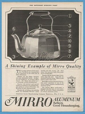 1918 Aluminum Goods Manufacturing Co Manitowoc Wisconsin Mirro Tea Kettle Ad