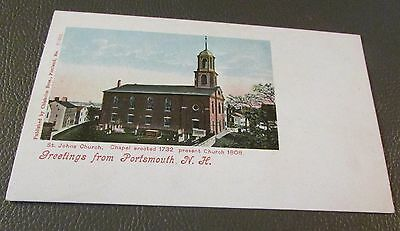 Old Postcard  PORTSMOUTH, NEW HAMPSHIRE   { EARLY ST. JOHN'S CHURCH}