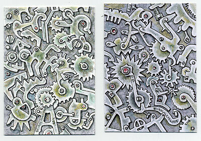 Integral and integration ACEO Art Card, Orig Pen & wc by Brian Collins,