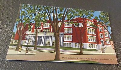Old Postcard  MANCHESTER, NEW HAMPSHIRE   { EARLY CENTRAL HIGH SCHOOL}