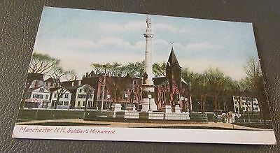 Old Postcard  MANCHESTER, NEW HAMPSHIRE   {SOLDIERS MONUMENT-w/Horse & Buggy}