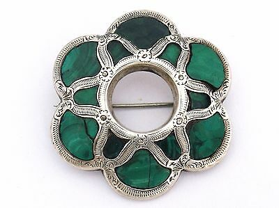 Vintage Sterling Silver Scottish Brooch with Malachites