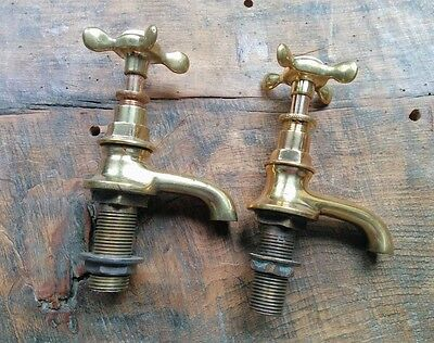 Original Salvaged 1910s   Small Brass Basin Taps , Overhauled And Ready To Fit