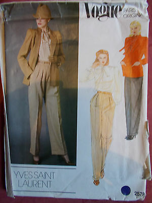 Vogue Jacket, Trousers & Blouse  Sewing Pattern  Size 12 - New  Yves St Laurent