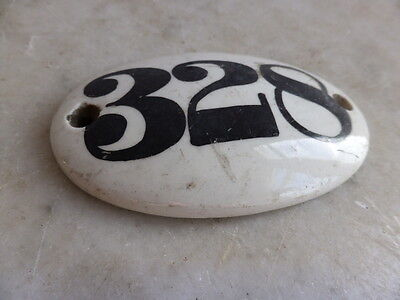 Antique Victorian ceramic door number plaque - 328