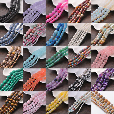 Round Natural Stone Gemstone Loose Spacer Beads 4/6/8/10/12/14mm Lots Wholesale