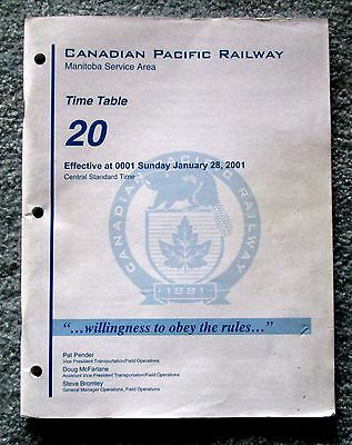 Canadian Pacific Railway CPR Employee Timetable #20 January 2001 Manitoba mwbu