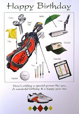 Golf Gift - Happy Birthday Greeting Card With Bag Ball Cap Shoe Umbrella Club