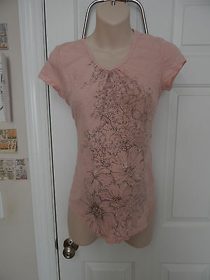 oh baby! motherhood maternity pink floral casual top S small short sleeve