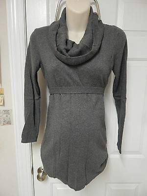 motherhood maternity gray knit top S small long sleeve cowl neck