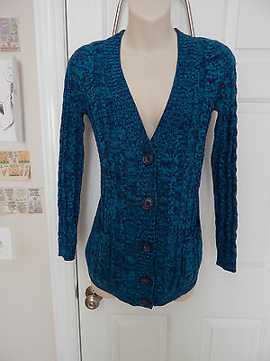 old navy maternity blue cardigan sweater XS extra small cable knit