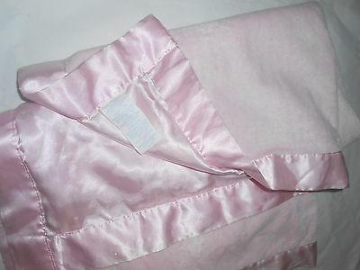 "CARTERS SATIN 30x40"" back and edge SOLID PINK BABY BLANKET LOVEY"