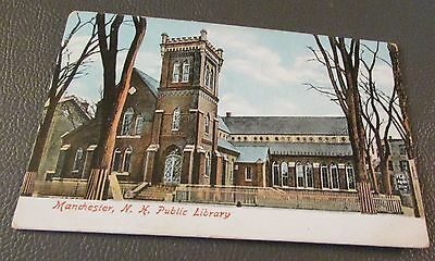 Old Postcard  MANCHESTER, NEW HAMPSHIRE   {EARLY PUBLIC LIBRARY}