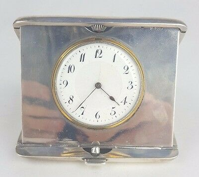 VINTAGE ART DECO 1920s FRENCH SOLID SILVER DEPOSE TRAVEL CLOCK