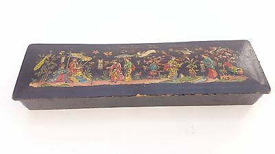 Antique Black Lacquered Chinese Pen Jewelery Box Oriental Collectable Present