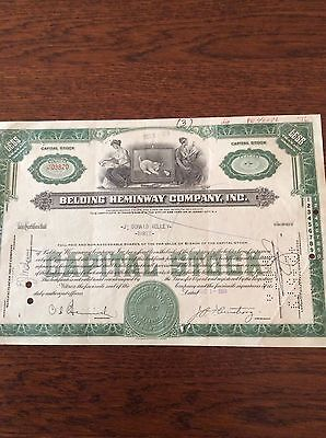 Belting Heminway Co. Inc. Dated 1951 3 Shares INVALID SHARE CERTIFICATE