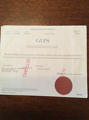 GUS Dated 2002 3  Shares Invalid Share Certificate