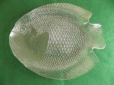 "GLASS FISH SHAPE SERVING PLATTER, Tempered, 15"" long, ARCOROC (France) 1970's"