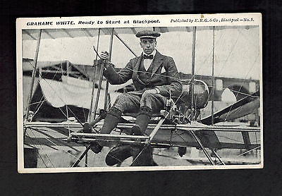 1911 England Postcard Cover Grahame White Aviation Ready to Fly at Blackpool