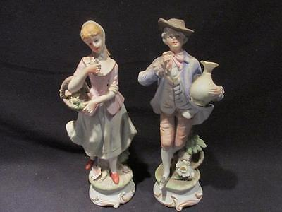 ESD Japan #24017 Pair Lefton Bisque Figurines Man with Jug & Woman with Basket