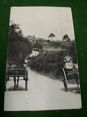 Old Rppc Postcard Cornwall ? Horse And Cart .. Unknown ? St Just ?