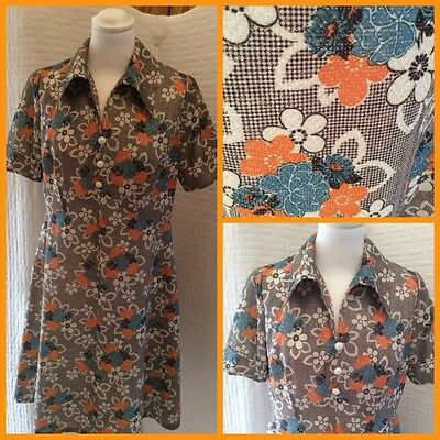 Vintage 1960/70s Disco Lurex Floral Skater Dress Absolutely Fab Size 12/14