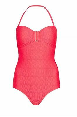 New M&s Tummy Control Size 10 Pink Coral  - Swimsuit Secret  Slimming Bandeau